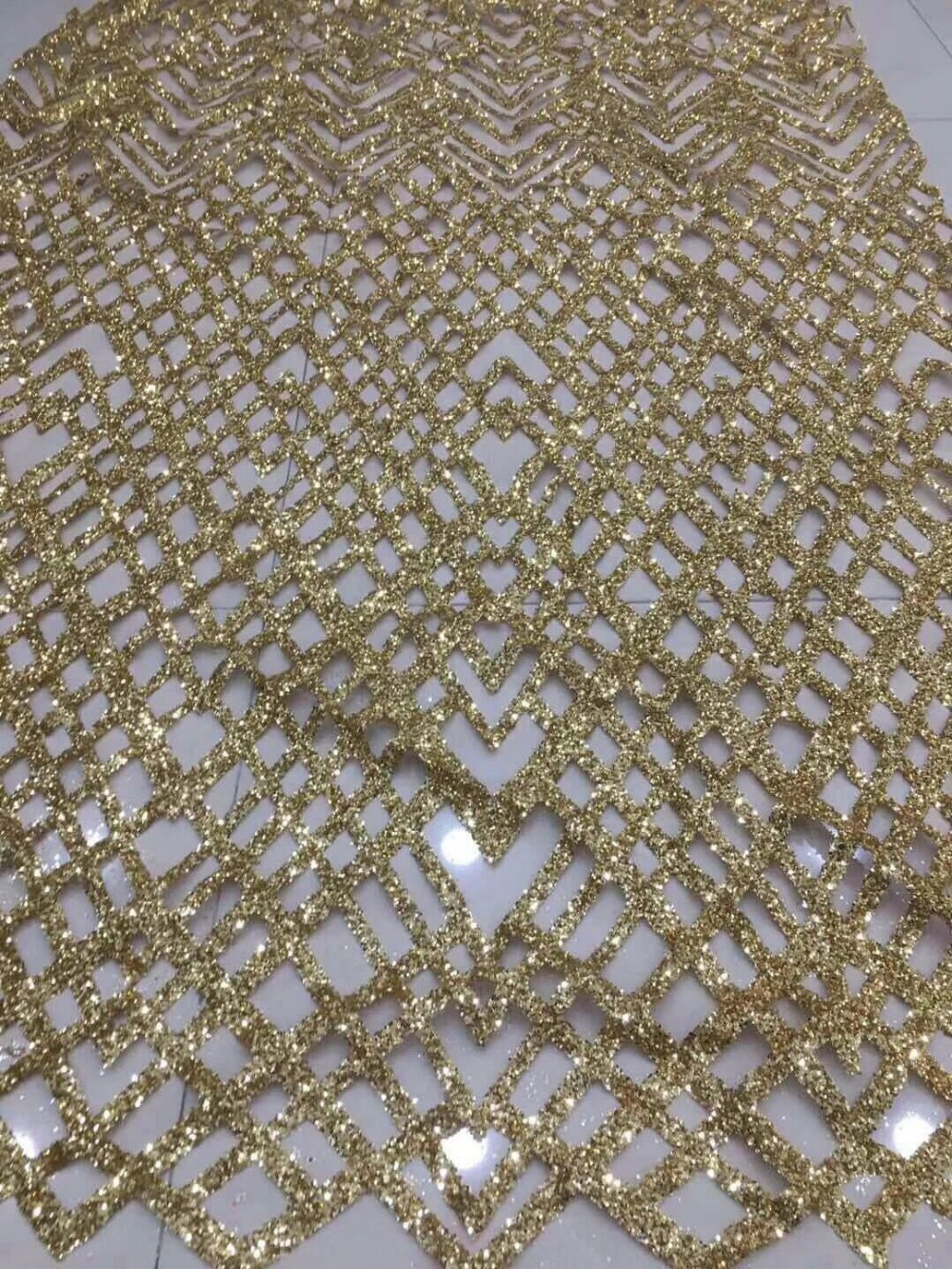 fast shipping david 61921 african net lace fabric with glued glitter African french lace fabric