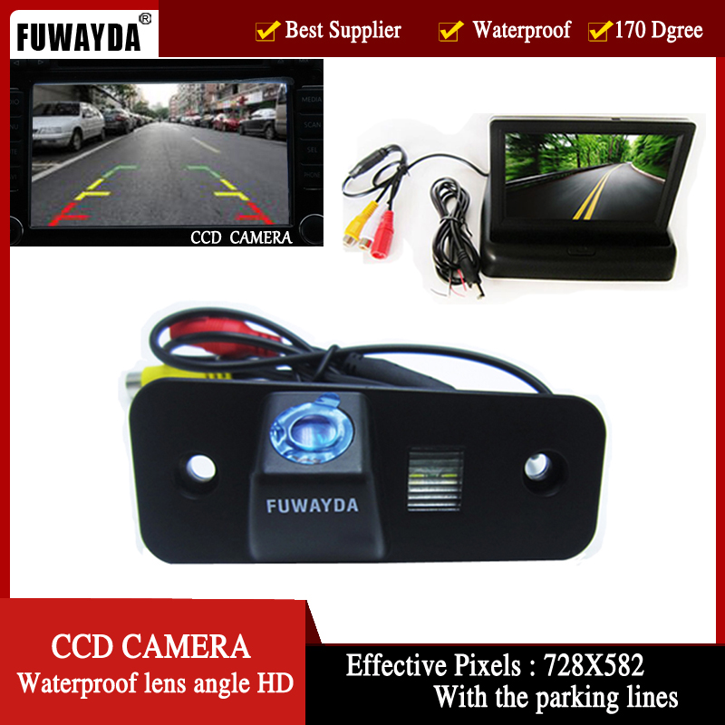 Цветной CCD автомобильная камера заднего вида для Hyundai Santa Fe santafe | azera, с 4.3 дюймов складной LCD TFT монитор