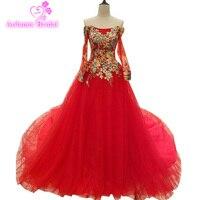 Aolanes 2017 Vestido De Noiva длинные красные вышивка цветы блестками вечерние платья невесты банкет slim сексуальное вечернее платье для выпускного вече