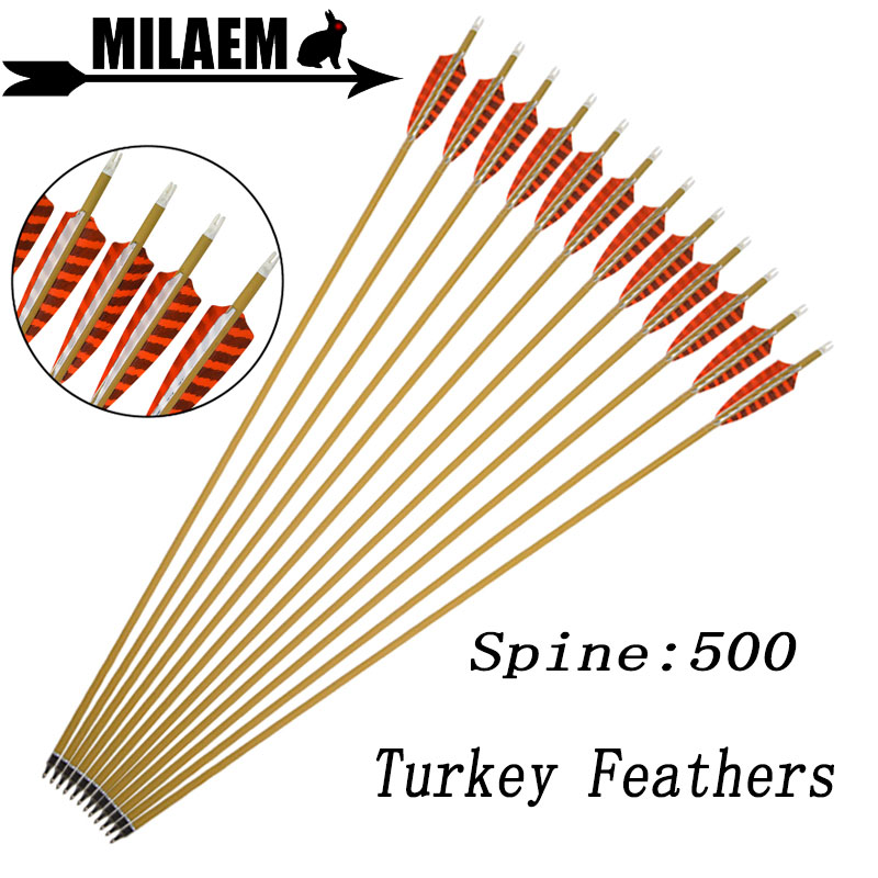 6/12pcs 30inch Archery Carbon Arrow Spine 500 Pure Carbon 4inch Turkey Feather ID6.2mm Compound Recurve Bow Shooting Accessories