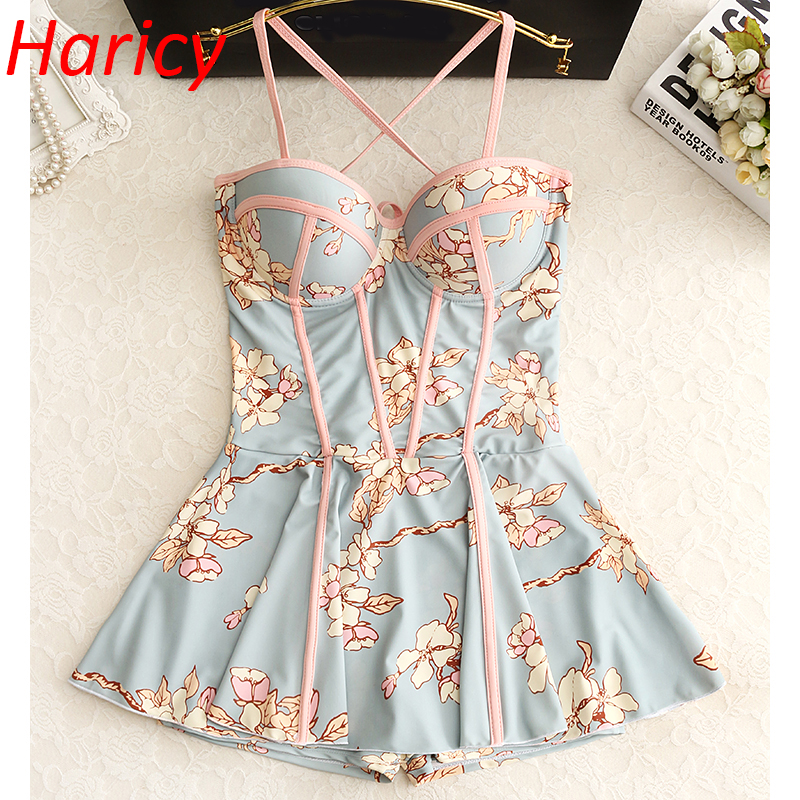 Back Cross Bandage 2018 Floral Push Up Monokini Bathing Swim Suit For Women Dress Swimwear One Piece Swimsuit Skirt