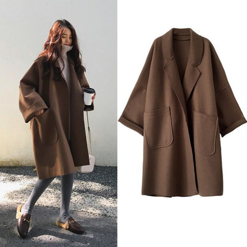 EFINNY Women Autumn Winter Elegant Coat Mid-length Lapel Solid Color Loose Woolen Casual Long-sleeved   Trench