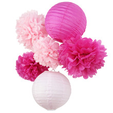 (Pink,Fuchsia)6pcs Honeycomb Paper Decoration Set (Paper Lantern,Pom Pom) for Wedding Bridal Shower Birthday Nursery Decor