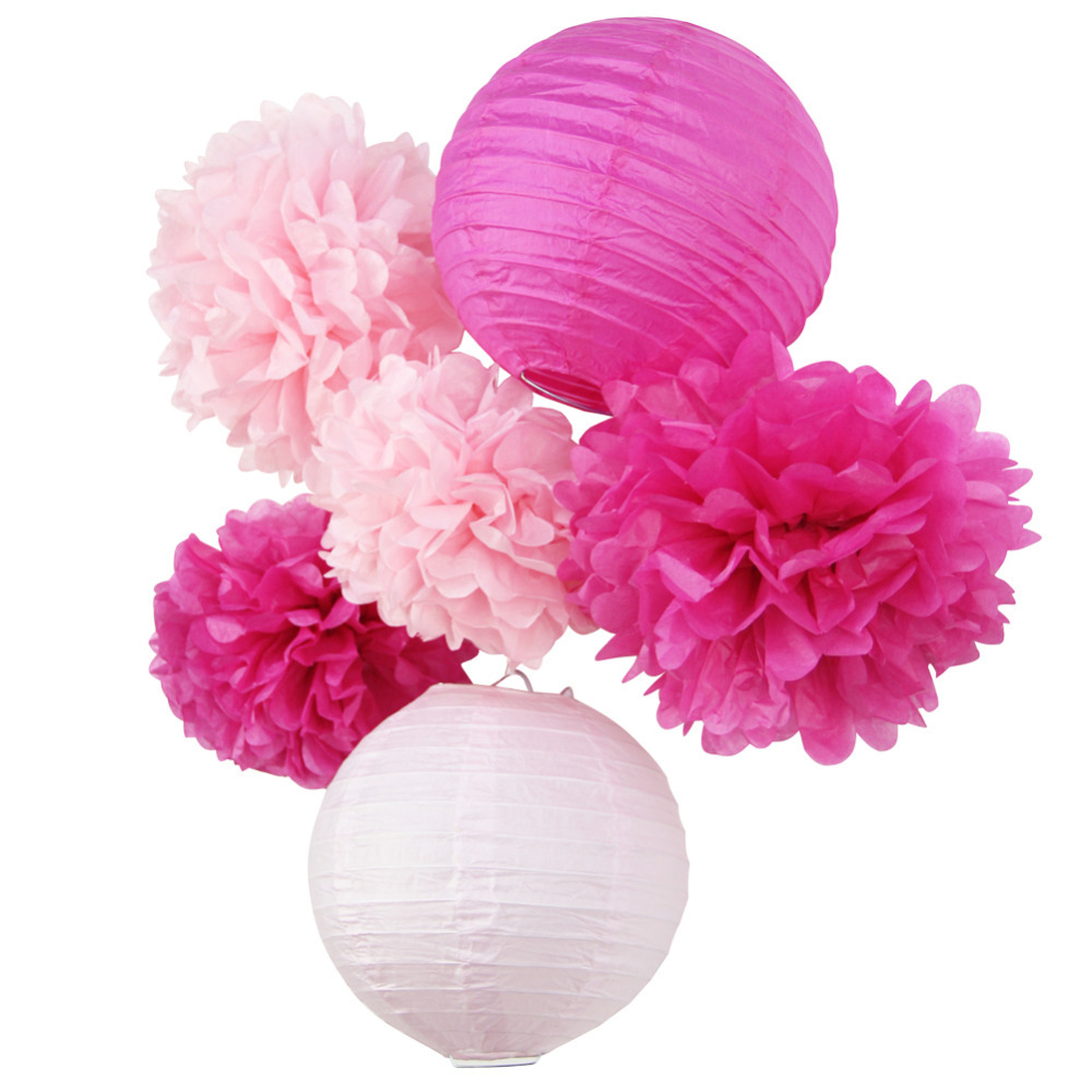(Pink,Fuchsia)6pcs Honeycomb Paper Decoration Set (Paper Lantern,Pom Pom) for Wedding Bridal Shower Birthday Nursery Decor