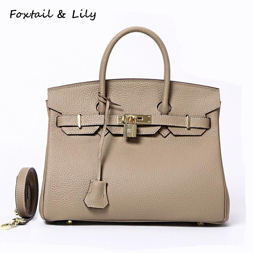 ФОТО Foxtail & Lily Real Leather Bag Platinum Lock Bags Handbags Women Famous Brands Genuine Leather Tote Shoulder Crossbody Bags