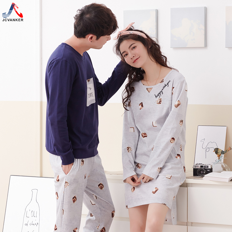 JCVANKER High Quality 100% Cotton Couples Pyjamas Suit For Women Nightgown Man Pijama Se ...
