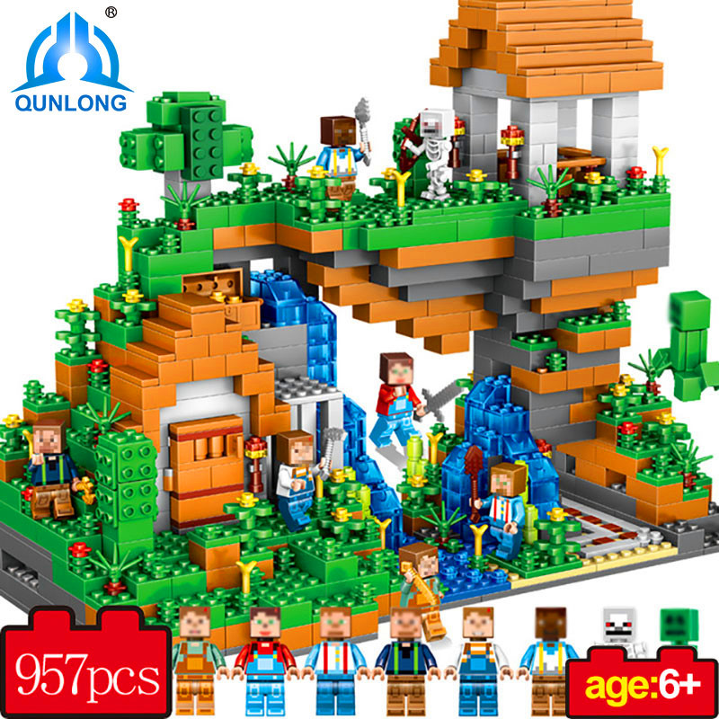 Qunlong My World Hidden Water Falls Building Blocks Figures Bricks Toys Educational Toy For Kids Compatible Lepin Minecraft City 2 sets jurassic world tyrannosaurus building blocks jurrassic dinosaur figures bricks compatible legoinglys zoo toy for kids