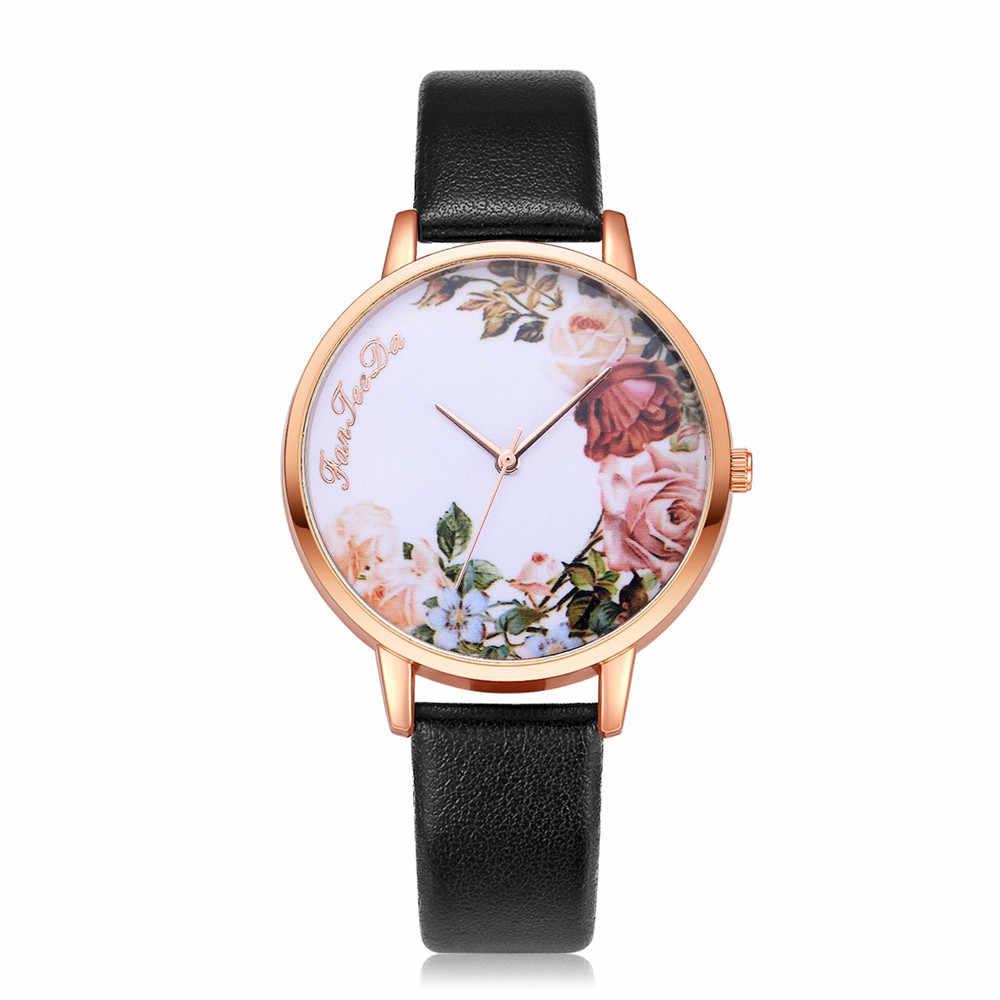 2018 reloj blanco glamoroso arte Rosa patrón de moda de lujo de cuero de banda analógico de cuarzo ronda relojes de pulsera 11,08