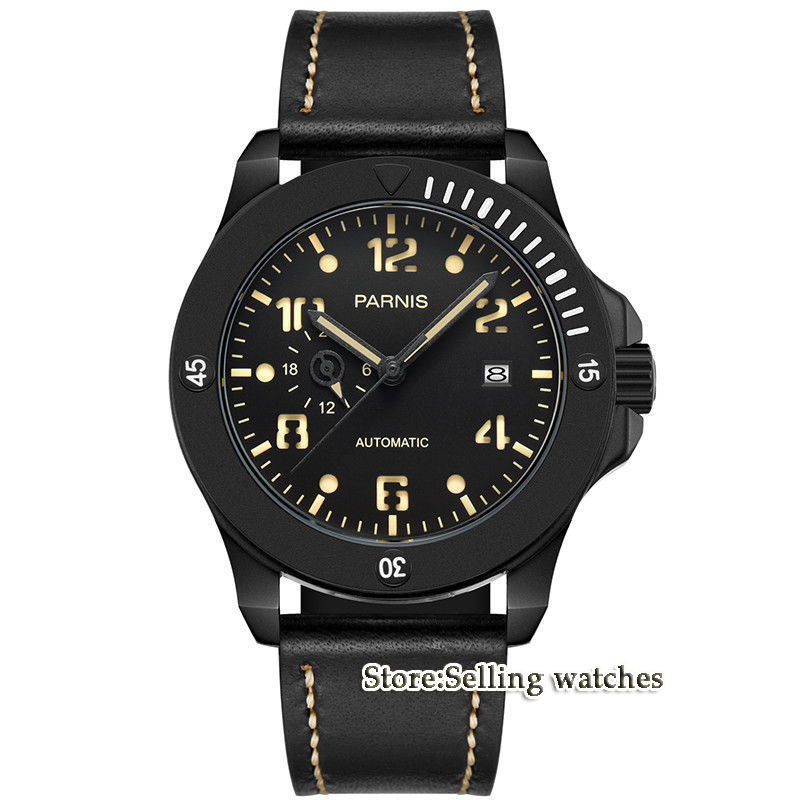 2018 New Arrival Parnis 44mm Mens Watches Miyota Luminous Hands Mechanical Watches Luminous Waterproof Black Dial Watch Men Gift2018 New Arrival Parnis 44mm Mens Watches Miyota Luminous Hands Mechanical Watches Luminous Waterproof Black Dial Watch Men Gift
