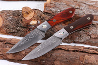 MIKER EDC Utility hunting knife Very sharp Advanced Damascus Steel Natural wood Handmade knife 60HRC survival tactical EDC tools