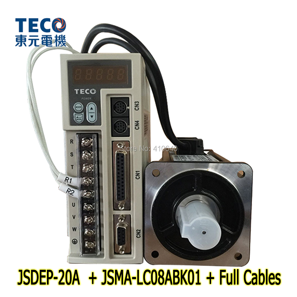 Genuine TECO 750W Servo Motor JSMA-LC08ABK01 And Servo Motor Drive JSDEP-20A with Cable CE and UL Certificate free shipping by dhl teco 3kw servo motor jsma mb30abk01 and servo motor drive jsda 75a3 with 42 96 peak torque