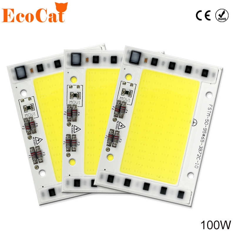 LED 100W COB Chip 220V Lamp Smart IC High Power LED Matrix Diode Array For Spotlights Searchlight Street Floodlight