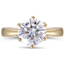 Transgems 14K Yellow Gold 2 Carat H Color 2.8MM Width Round Moissanite Diamond Engagement Ring for Women Fine Jewelry