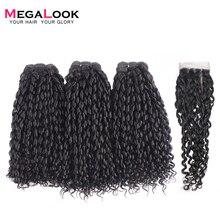 Megalook Funmi телефон локон 3 пряди с 4*4 закрытие шнурка бразильские человеческие волосы remy для наращивания 3 пучка с закрытием