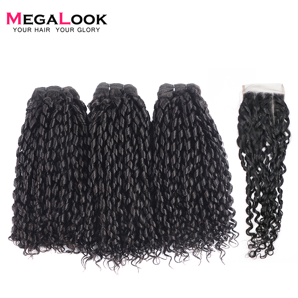 Megalook Funmi Telephone Curl 3 Bundles With 4*4 Lace Closure Brazilian Human Remy Hair Extensions 3 Bundle With Closure