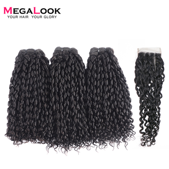 Megalook Funmi Telephone Curl 3 Bundles with 4*4 Lace Closure Brazilian Human Remy Hair Extensions Bundle - discount item  35% OFF Beauty Supply