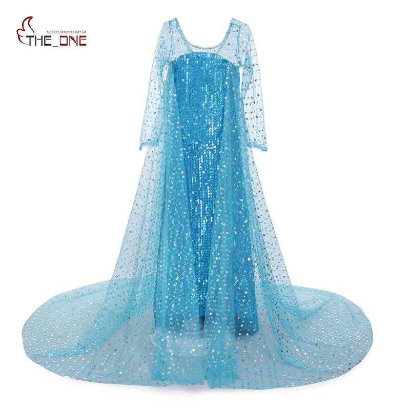 MUABABY Girls Summer Dresses Kids Long Sleeve Blue Princess Elsa Sequined Cosplay Costume Girl Birthday Party Fantasy Ball Dress
