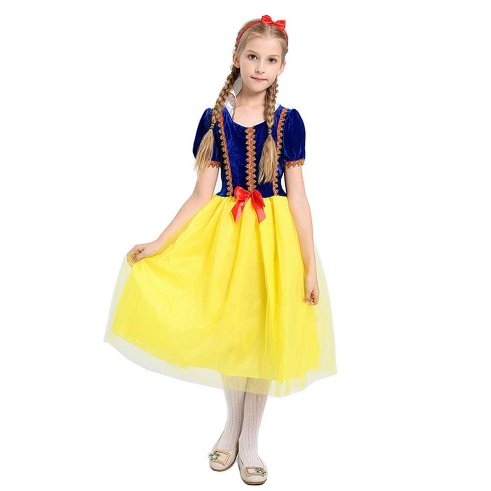 Deluxe Snow White Costume Little Girl Princess Dress Fairy Tales Baby Girl Tutu Dress Halloween Carnival Christmas Costume