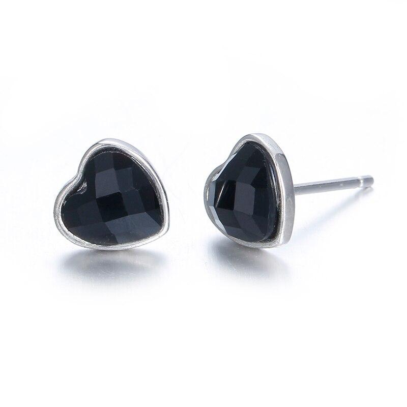 Romantic love heart black agate women 925 sterling silver ladies`stud earrings jewelry gift wholesale promotion