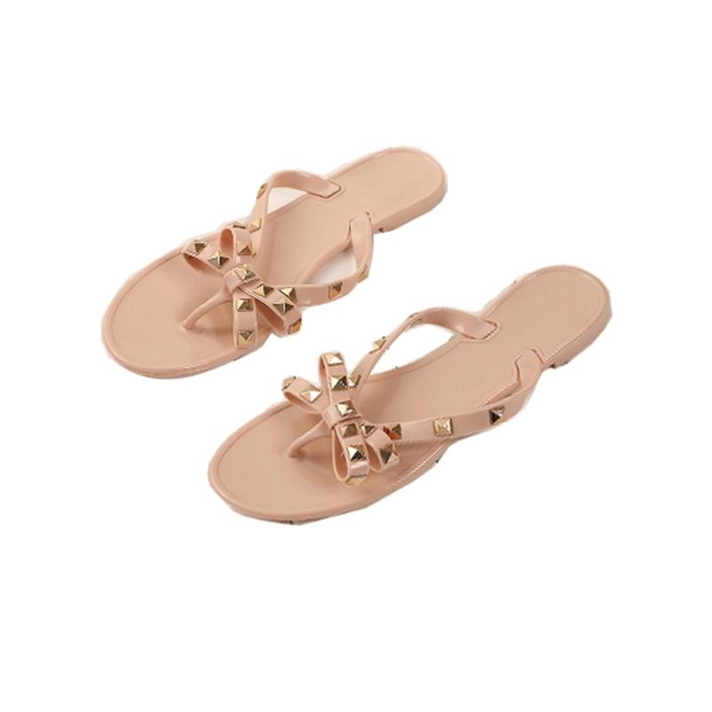 cfa79aa55 Summer New Style Women Sandals Flat With Bowknot Tie Riveted Herringbone  Women Slippers Garden Jelly Sand