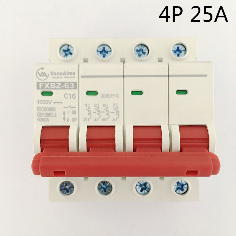 FXBZ-63 4P 25A DC 1000V Circuit breaker MCB 1 Poles C63 fxbz 63 4p 40a dc 1000v circuit breaker mcb 1 poles c63