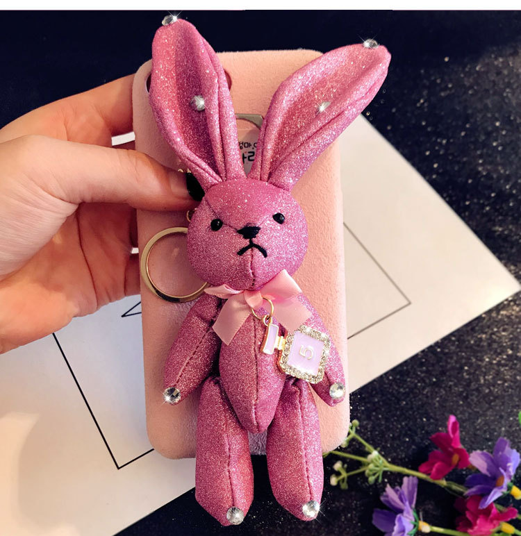 Cute Wishing rabbit Key Chains Handmade Pokemon Bags Pendant Fashion Jewelry Ornament Car Keychain New Gifts Kids Toys A062 image
