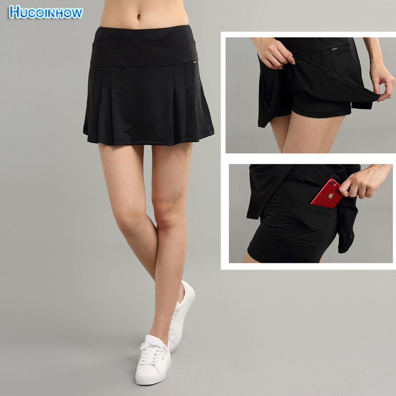 Sports Skirt Female Solid Color Pleated Skirt Summer High Waist Pocket Skirts Women Quick Dry Elastic Golf Tennis Skirts