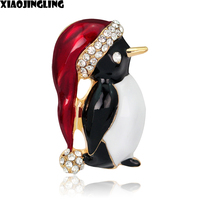 XIAOJINGLING Fashion Cute Christmas Penguin Brooches Crystal Rhinestones For Women Christmas Birthday Gifts Scarf Accessories