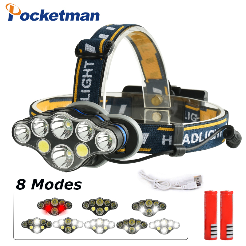 20000lm COB LED Headlight +T6 Headlamp 8-Mode USB Camping Torch 5/6/7/8 LED for 18650 Battery Waterproof Camping Flashlight 30w led cob usb rechargeable 18650 cob led headlamp headlight fishing torch flashlight