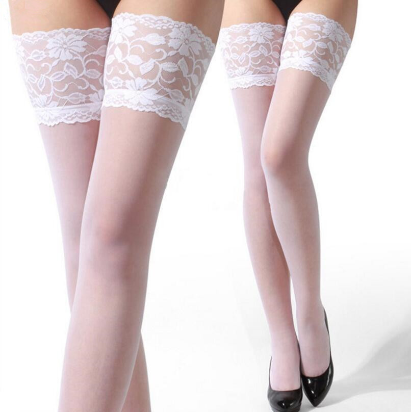 New Sexy Women's Stockings Lace Top Thigh High Stockings Hosiery Pantyhose Hot Sexy Lingerie Female Elastic Nylon Stockings