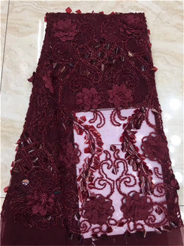 New Wine African 3D Appliqued Lace Fabric French Tulle Mesh Lace 2019 High Quality 3D Sequins Nigerian Lace for Wedding F5