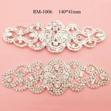 Фотография Free shipping 2PCS rhinestone applique sash for bridal wedding dress hair accessory(RM-1006)