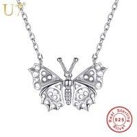 U7 100% 925 Sterling Argent Délicat Papillon Collier Ras Du Cou La Vie Animale Charme Argent 925 Bijoux Cadeau pour les Femmes SC24