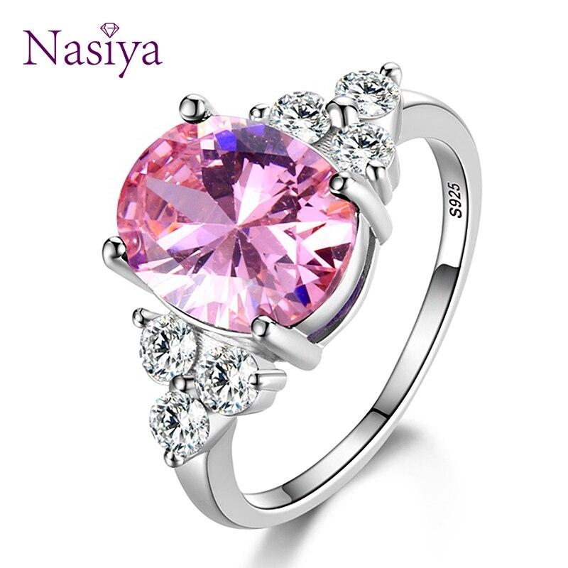 Jóias femininas 925 anéis de prata esterlina branco rosa claro azul champanhe zircão oval anel de casamento