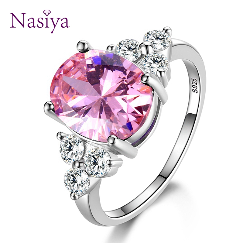 Women s Jewelry 925 Sterling Silver Rings White Pink Light Blue Champagne Zircon Oval Wedding Ring