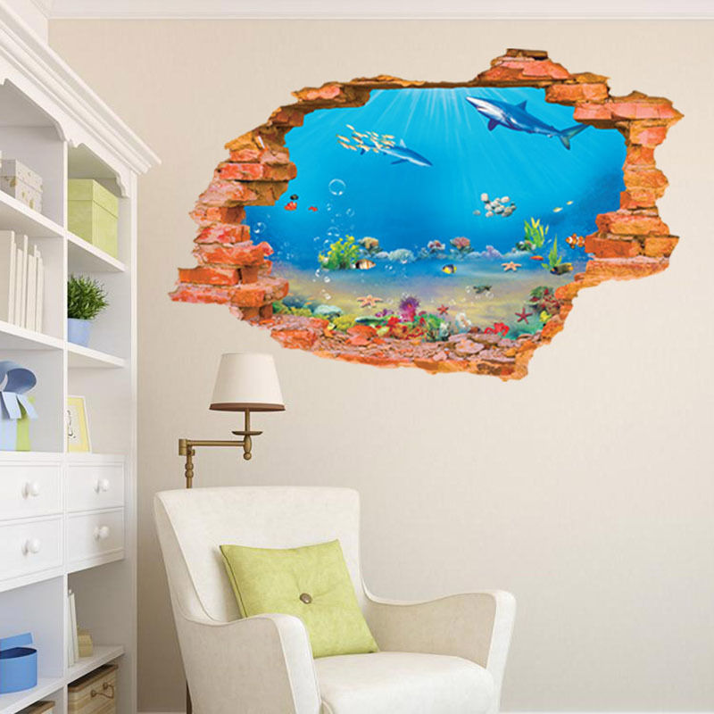 buy hot 3d sea world wall stickers. Black Bedroom Furniture Sets. Home Design Ideas