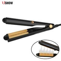 USHOW New Professional Steam Hair Straightener Iron Argan Oil Vapor System Ceramic Titanium Hair Straightening Iron