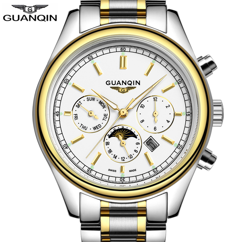 Top Brand GuanQin Luxury Business Mens Watches Quartz Watch men Auto Date Calendar Luminous waterproof Male Clock fashion casual цена и фото