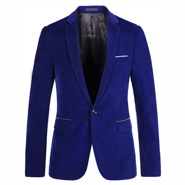 Male One Button Royal Blue Velvet Slim Fit Blazer Mens Prom Stage ...