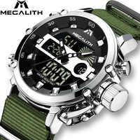 Relojes casuales deportivos MEGALITH para hombres luminosos impermeables marca superior de lujo reloj de cuarzo analógico LED con fecha