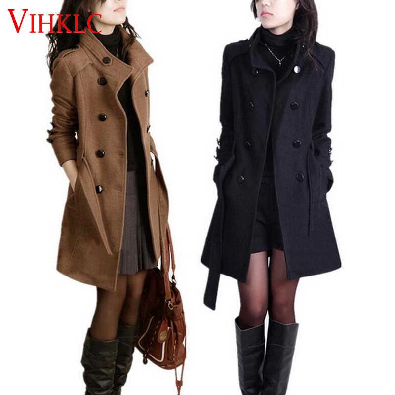 2016 New Women Trench Woolen Coat Winter Slim Double Breasted Overcoat Winter Coats Long Outerwear for Women Plus Size Coat Y707