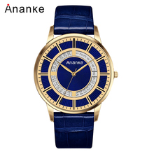 ANANKE Mens Watches Leather Buckle Belt Business Waterproof  Casual Japanese Quartz Movement Wristwatch With Date AN05