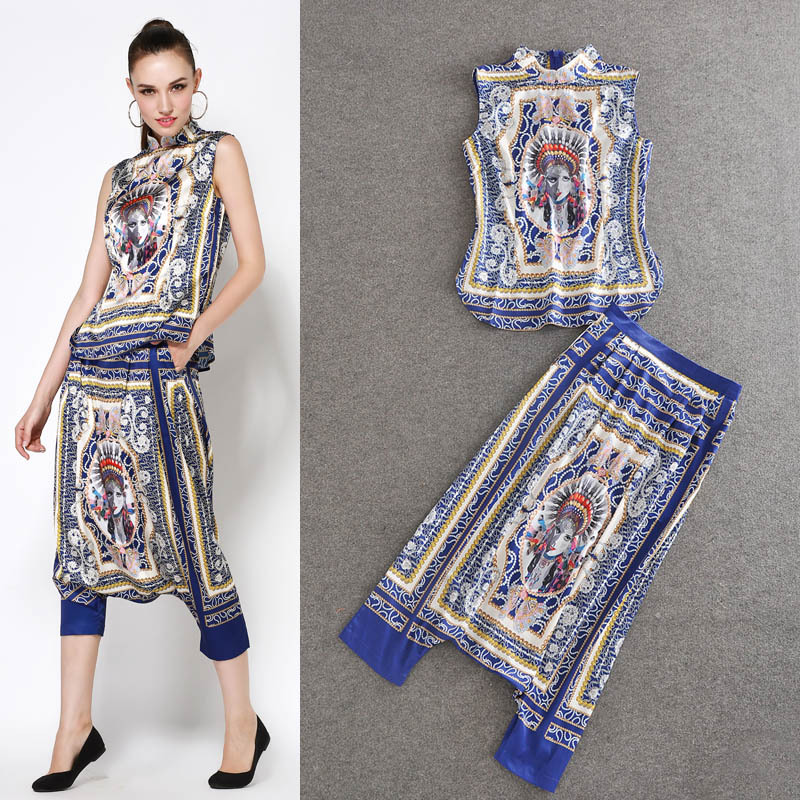 HIGH QUALITY New 2018 Designer Fashion Runway Suit Set Women's Novelty Print Cross Pants Clothing set