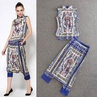 HIGH QUALITY New 2014 Designer Fashion Runway Suit Set Women S Novelty Print Cross Pants Clothing