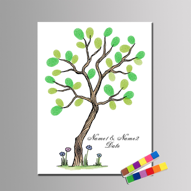 Personalisierte Fingerabdruck Gastebuch Fur Hochzeit Baum Baby