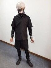 Anime Tokyo Ghouls Ken Kaneki Cosplay Costume Leather Suit/Hooded Coat/Pants Carnaval Halloween Costumes for Men