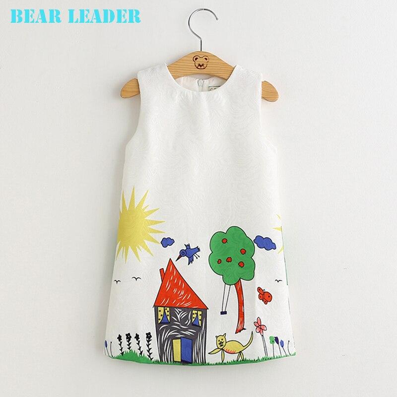 Bärenführer Mädchen Kleider 2018 Neue Marke Frühling Prinzessin Kleid Kinder Kleidung Graffiti Print Design für Babys Kleidung 3-8Y