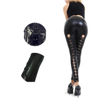 2017 New Hot Leggins Women Sexy Like Lace Black Faux Leather Gothic Wet Look Clubwear