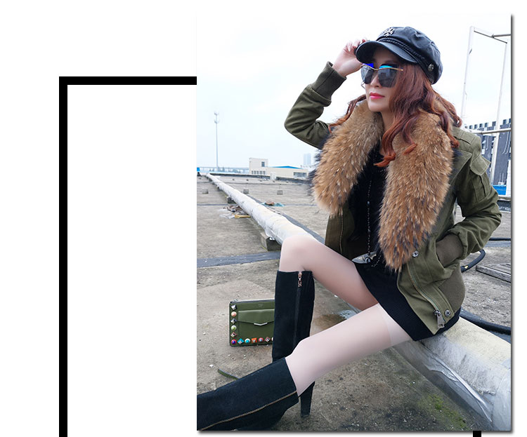 women cotton Flight suit jacket with real fur collar (7)