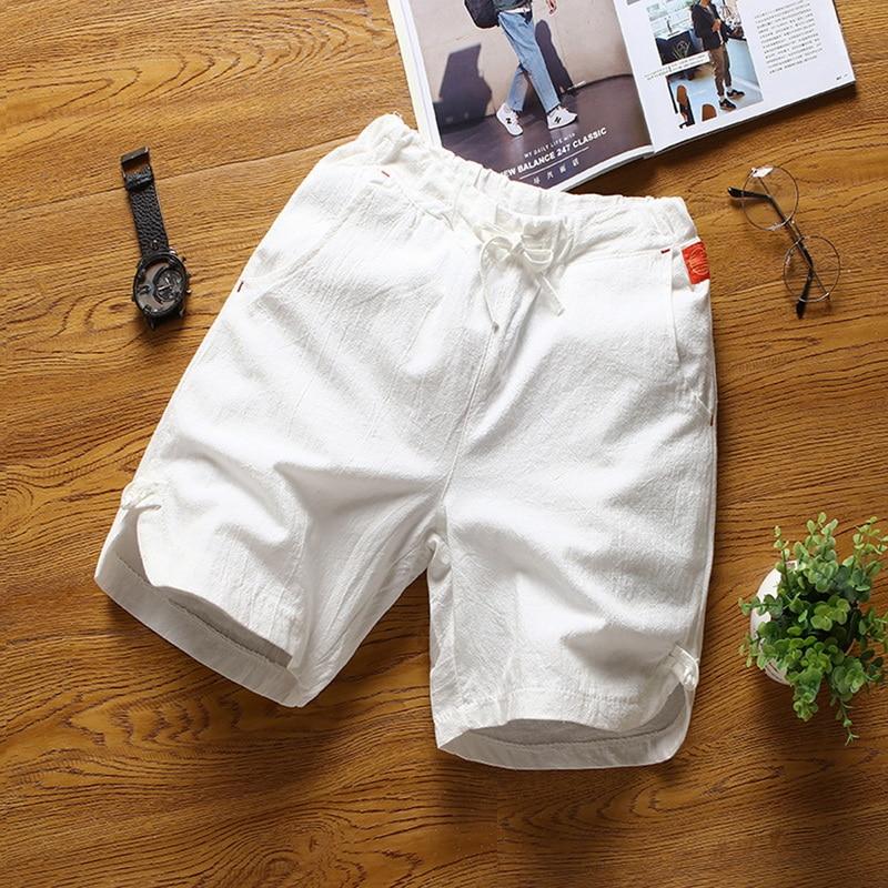 Litthing 2019 New Summer Men Casual Linen Cotton Loose Drawstring Soild Joggers Plus Size M-5XL Fashion Breathable Cargo   Shorts